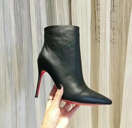 a1506b1929ef40 2019 Luxury Black red Leather with Spikes Pointed Toes Womens Ankle Boots  Fashion Designer Sexy Ladies Red Bottom High Heels Shoes Pumps