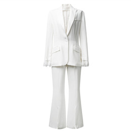 Geometric Suit Australia - MFHK high-end lace triacetate commuter smart suit jacket two-piece bell bottom suit for women spring 2019 sexy