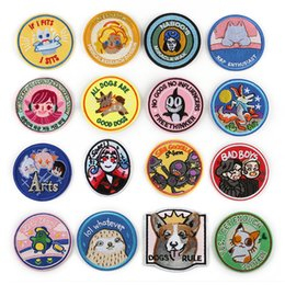 $enCountryForm.capitalKeyWord Australia - 100 PCS Round Animals Patches for Clothes DIY Stripes Iron on Cats Appliques Dogs Thermo Clothing Stickers Embroidery Badges @C