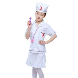 $enCountryForm.capitalKeyWord Australia - Halloween Cosplay Kid Clothes Girls Doctors Nurse Uniform Matching Hat Toys 4T-8T Carnival Role Play Girl Prom Gown Costume