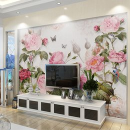 housing Australia - 3D Wallpaper European Style Pink Flowers Plant Mural Living Room Bedroom Wedding House Background Wall Romantic Papel De Parede