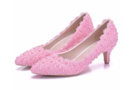 $enCountryForm.capitalKeyWord Australia - Women Elegant White Lace Flowers Wedding Shoes Female 5cm High Heeled Bride Shoes Woman pumps