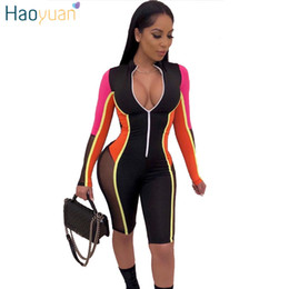 Front Jumpsuit Australia - HAOYUAN 2019 New Sexy Mesh Splicing Playsuit Womens Streetwear Front Zipper Long Sleeve Shorts Jumpsuit Bodycon Rompers Overalls