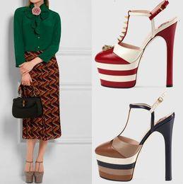Black flat platform strap sandals fashion online shopping - 15CM High heels Sandals For women Platform Gladiators Genuine leather Open toe Dragon Buckle Pumps Brand Designer
