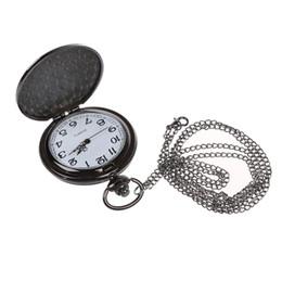 Unique Wholesale Analog Watches Australia - Unique Vintage Mens Lady Analog Pocket Watch Necklace Pendant Chain Cute Gift - Black