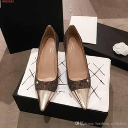 Wholesale Classic High Heels women shoes Leather splicing woven fabric pointed toes shoes Wedding and Daily Use