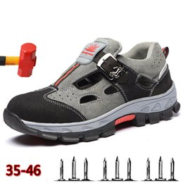 men's breathable summer shoes Australia - Labor Insurance Shoes Sandals Men's Summer Light Breathable Deodorant Safety Shoes Casual Non-slip Men's Work Boots
