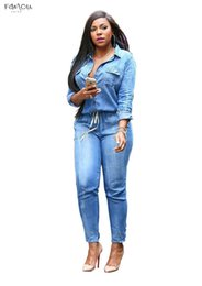 plus size women s jumpsuit NZ - Adogirl Plus Size Jeans Jumpsuit Turn Down Collar Long Sleeve Bandage Bodysuits Denim Rompers Women Combinaison S-3Xl