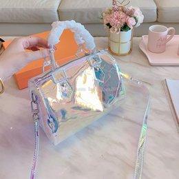 Großhandel Luxus Bunte Shell Tasche Druck Eimer Hand löschen Handtaschen-Kupplungs-Laser Flash PVC Kupplungen Designer-Handtaschen Transparent Duffle Bag