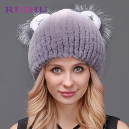 5306500a124 Natural Fur Hats Real Rex Rabbit Cute Cat Ears Genuine Real Fur Warm  Knitting With Fox Women s Winter Hat Cap