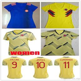 59320a08a 2019 World Cup Women Colombia Soccer Jerseys 10 James 9 Falcao 11 Cuadrado  Valderrama Rodriguez Custom Female Lady Girl Football Shirt