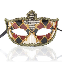 Vintage cat mask online shopping - Men And Women Masquerade Mask Vintage Venetian Checkered Musical Party Mardi Gras Mask One Size Fit Most FGHG