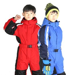 9c44549bc Children's One-Piece Ski Suit Thick Warm Boys Girls Breathable Windproof  Waterproof Comfortable Charge Outdoor Sports Set 48