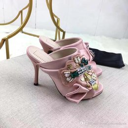 559086e9838b7 satin Crossover Sandal Mules big Butterfly Knot and bead crystal decor thin  High Heel Sandals Womens Slipper Salto Alto Fashion Flats