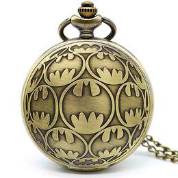 Batman Pendants Australia - New Fashion BM Batman Super Hero Hot Movie Quartz Pocket Watch Analog Pendant Necklace Mens Womens Watches Chain Gift