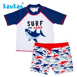 Discount swimwear infantil - Kavkas Children Boy Swimsuit With Shorts Shark Printing Kids Boy Sports Suit Swimwear Sunga Infantil Praia Menino