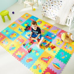 eva key NZ - 10Pcs animal Number Pattern Foam Puzzle Kids Rug Carpet Split Joint EVA baby Play Mat Indoor Soft activity Puzzle