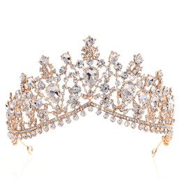 Rose gold cRystal haiR accessoRies online shopping - Luxury Rhinestone Tiara Crowns Crystal Bridal Hair Accessories Wedding Headpieces Quinceanera Pageant Prom Queen Tiara Princess Crown