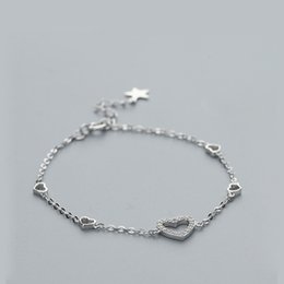 $enCountryForm.capitalKeyWord Australia - La MaxZa Hollow Heart Charm Silver Bracelet 925 Women Jewelry Chain Fashion Minimalist Sterling Silver Bracelets For Women Trend