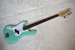 left handed basses NZ - Factory Custom Left Handed Green 4 strings Electric Bass Guitar with Rosewood Fretboard,White Pearl Pickguard,Dots Fret Inlay,be Customized
