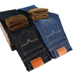 korea fashion men pants 2019 - Spring And Autumn Men Fashion Brand Vintage Korea Style Slim Fit Straight Jeans Male Casual Thick Warm Cashmere Trousers