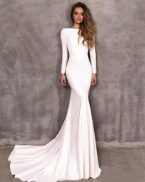 Wholesale low sleeve cut tops for sale - Group buy Top Quality Berta Mermaid Wedding Dress with Long Sleeves Bateau Neck Low Cut Back Plain Satin Bridal Gowns