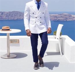 bridegroom wedding suits grey 2019 - Double-Breasted Peak Lapel Custom Groomsmen Groom Tuxedos Groomsmen Best Man Suit Mens Wedding Suits Bridegroom (Jacket+