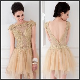 $enCountryForm.capitalKeyWord Australia - On Sale Champagne Short Graduation Dresses Tulle Lace Applique Bodice Backless Cap Sleeve Beaded Sexy Cocktail Dresses