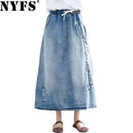 Wholesale jeans pencil skirt resale online - NYFS New Summer Vintage women long denim skirt embroidered long skirts vintage jeans Elastic waist pencil skirts