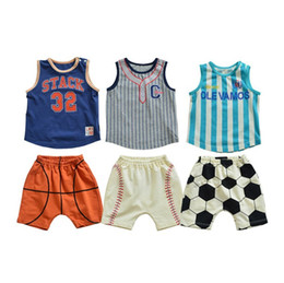 boys basketball shorts wholesale UK - 2-7 years baby boys basketball outfits fashion design kids boy baseball clothing set children soccer casual suits