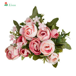 cheap white roses Australia - 28cm 11in Rose White Silk Camellia Artificial Flowers Bouquet 10 Big Head Cheap Fake Flowers for Home Wedding Decoration Indoor