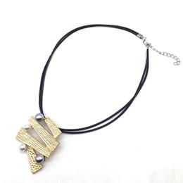 $enCountryForm.capitalKeyWord Australia - Women Jewelry Black Leather Chokers Necklace Pearl Grey Pendant Necklaces & Pendants collares mujer colar choker