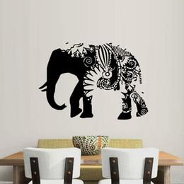 Large Wall Decor Australia - 1 Pcs Ganesha Wall Decals Indian Elephant Vinyl Sticker Home Decoration Floral Art Design Removable Decal Bedroom Nursery Decor