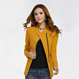 $enCountryForm.capitalKeyWord NZ - 2019 Hot Sale Women Zipper Blazer Suit Lady Formal Outwear Long Sleeve Coat Women Slim Fit Jacket Tops Autumn Coat Outerwear #408426