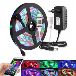 led strip lights music controller Canada - Music Bluetooth RGB LED Light Strip 2835 DC 12V Waterproof 5M 60 LEDs m Fita Tira Led Diode Tape With Controller Power Adapter