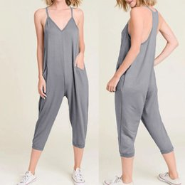 Harem Jumpsuits Women Australia - Celmia Women Sexy Sleeveless Jumpsuits V-neck Summer Rompers Female Casual Loose Harem Pants 2019 Strap Solid Plus Size Overalls