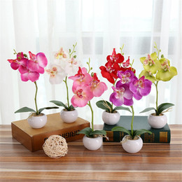 flower pot crafts Australia - Artificial Flower Butterfly Orchid Phalaenopsis Bonsai Flower Art Accessories Desktop Courtyard Craft Ornament Potted Plant