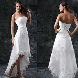 $enCountryForm.capitalKeyWord Australia - Vintage High Low Wedding Dresses Sweetheart Lace Appliques Country Bride Dresses Summer Beach 2019 Short Wedding Dress Bridal Gowns