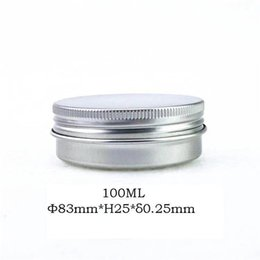 $enCountryForm.capitalKeyWord Australia - Free shipping Airtight 100g 100ml aluminum face cream jar with lid, silver metal tea pot hair wax candle jar for jelly container