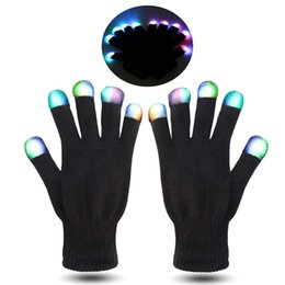 Funny Party Suits Australia - LED Gloves Finger Lights Fingertips Flashing 3 Colors 7 Modes Black Rave Gloves Halloween Costume Party Favors Light Up Toys Novelty