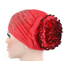 dab5ab5ef14 1pcs lot Women Flower Muslim Hair Cap Turban Hat big flower elastic Head  Wrap Solid Color Hat indian arabia