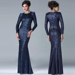 $enCountryForm.capitalKeyWord UK - Elegant Janique Sheath Mother of The Bride Dresses Navy Blue Long Cap Sleeves Jewel Sequins Modest Sparkly Evening Gowns Wedding Guest Dress