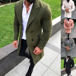 mens double breasted long trench coat NZ - Mens Trench Coat Double-breasted Jacket Fashion Long Coat Windproof Slim Trench Coat Plus Size Jacket Outwear