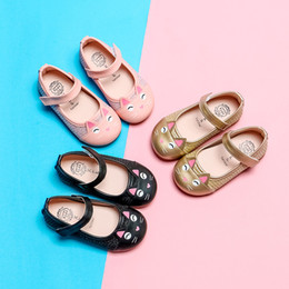 girls cat sandal NZ - Spring and Autumn Children's Shoes Girls Princess Leather Shoes Girls Flat Shoes Baby Cat Head Sandals