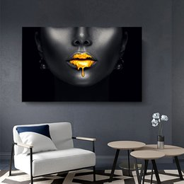 lip canvas art Australia - 1 Pcs Modern Art Canvas Painting African Women Golden Lips Wall Picturs For Living Room Wall Canvas Posters and Prints No Frame