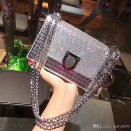 $enCountryForm.capitalKeyWord Australia - silver diamonds chain Shimmer & Glitter shoulder bag DR 22CM luxury women bags designer messenger leather bags   girl shoulder bag
