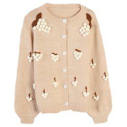 Wholesale New Style Women s Knitted Clothes Three dimensional Flowers Embroidered Long sleeved Loose Apricot colored Knitted Cardigan Jacket S M Size