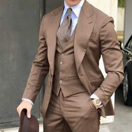 Mens black gold tuxedo forMal suit online shopping - 3 Piece Formal Wedding Men Suits Peaked Lapel Brown Jacket Vest Pants Tailored Made Blazer Groom Tuxedos for Mens Prom Suit