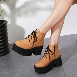 $enCountryForm.capitalKeyWord Australia - Lace Up Bootee Woman 2019 Zipper Shoes Autumn Boots Winter Women Round Toe Clogs Platform High Heel Lolita Ankle Spring Hoof