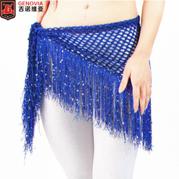 47abb0ac3 Women Belly Dance Costume Sequins Hip Scarf Belts Tassel Hip Scarf Belt  Triangle Shawl Practise Belt 4 Colours